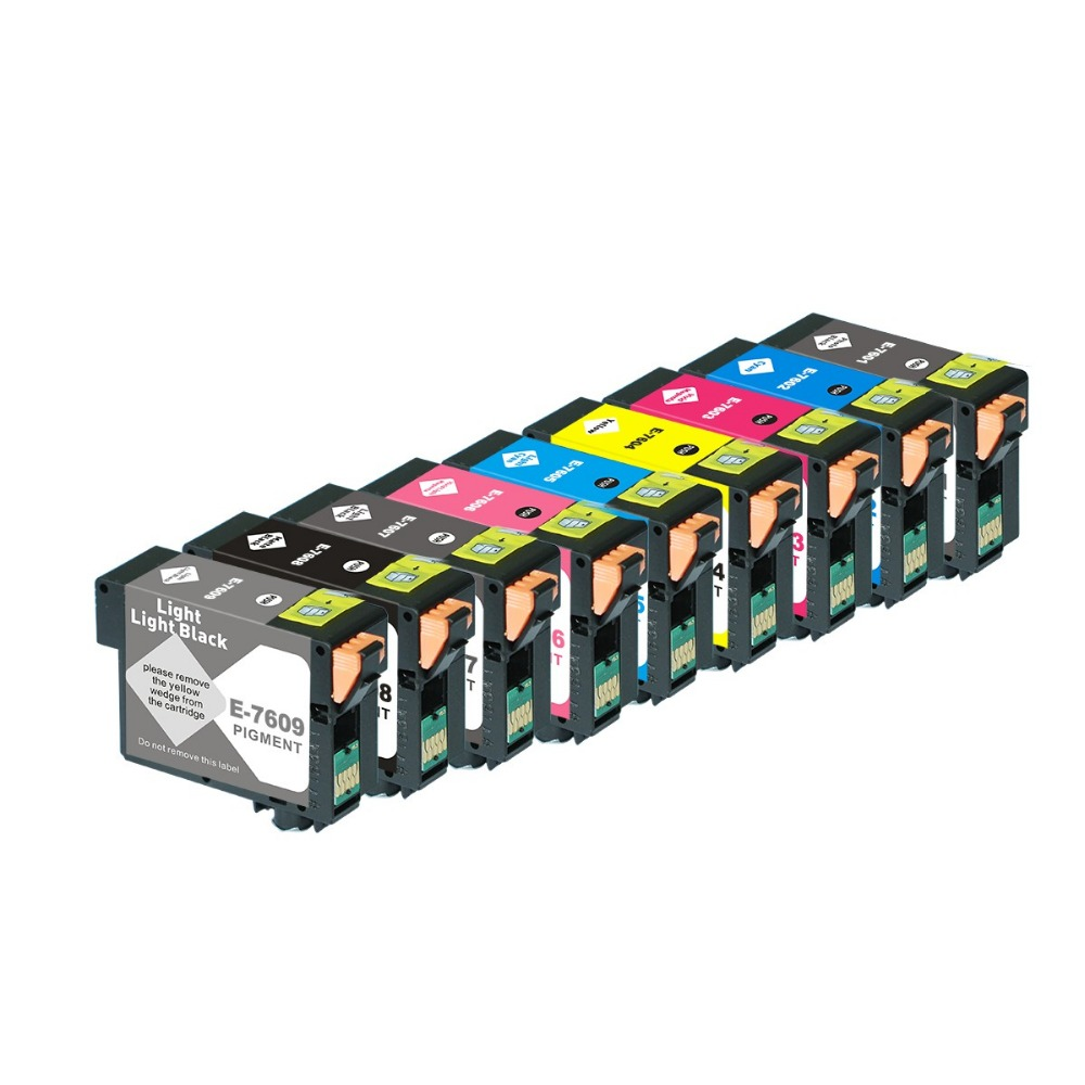 Full Ink 9 PCS Ink Cartridge T7601 T7602 T7603 T7604  T7605 T7606 T7607 T7608 T7609 Printer for Epson Surecolor P600 with chip roland eco solvent full ink cartridge for xj740 640 xc540 with chip 440ml 6 colors cmyk lc lm
