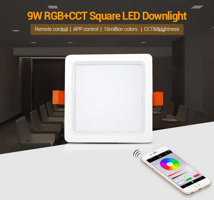 9W RGB+CCT LED Downlight Mi Light Square AC85-265V Dimmable LED Ceiling Lamp By Mi Light WIFI Remote Control Home Lighting mi light 2 4g 1pcs lot 12w led downlight remote rf control wireless bulb lamp white warm white down light 85 265v