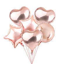 6pcs Rose Gold Heart Balloon Foil  Star Round Balloons Wedding Party Decor Helium  Ballon for Birthday Party Decorations Adult цена и фото
