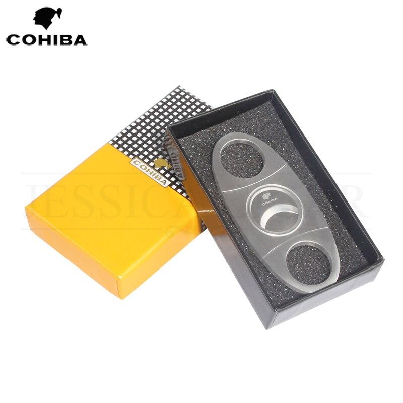COHIBA Stainless Steel Cigar Cutter Sharp Blade Zigarren Cutter Metal Cigar Knife Guillotina With Gift Box
