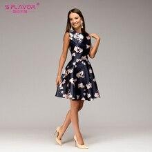 S. SABOR de mini vestido sem mangas Mulheres O Pescoço cintura impressão casual vestido curto Verão 2018 moda A-line vestidos feminino Elegante