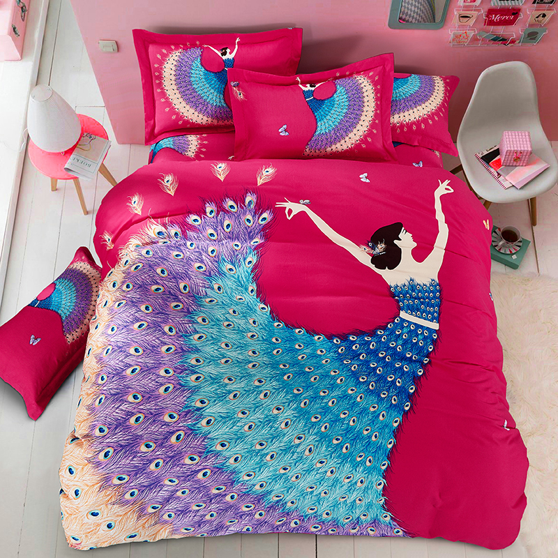 Hongbo 4 Pcs/Set Bedding Outlet Floral Flowers Duvet Cover With Pillowcase Wedding Bedding Set Quilt Cover