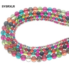Natural stone Colourful Tourmaline Glass Crystal Beads For Jewelry Making Stone DIY Bracelet Necklace Material 4 6 8 10 12 MM