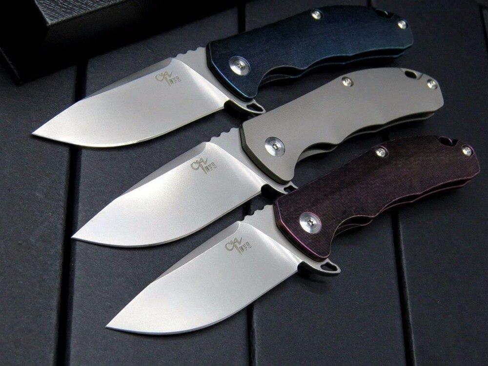 CH haut de gamme pliant couteau haute dureté Aus-8 CH3003 full titanium poignée tactique roulement à billes flip pliant couteau en plein air outil