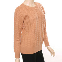 100%goat cashmere twisted thick knit women fashion Oneck solid pullover sweater red 2color S 2XL