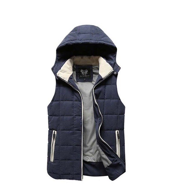 Winter cotton vest male 2016 new men Slim casual hooded vest Fashionable men's large size coat L-3XL