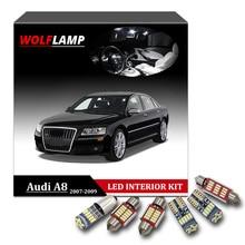 Wolflamp 17 шт. белый лед синий Canbus светодиодный лампы для декора автомобиля для 2007-2009 Audi A8 S8 D3 дверь свет купольная лампа пластина багажника лампа