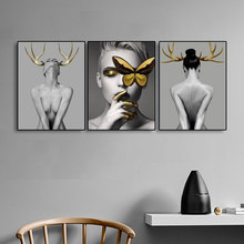 Nordic Poster Black And White Wall Art Canvas Painting For Girls Gold Elk Antler Pictures Women Living Room Home Decor
