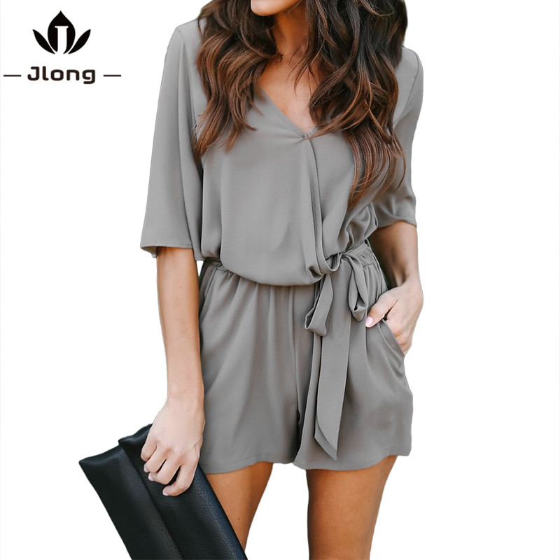 Summer Women Casual Chiffon Short Sleeve Jumpsuits Office Style Pockets Mini Tie short Rompers Overalls