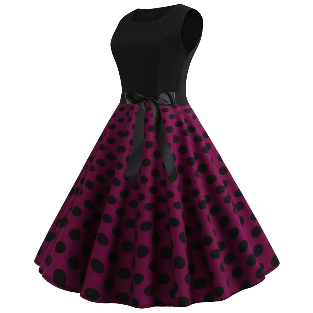 HTB1FHHEbiHrK1Rjy0Flq6AsaFXaS Women Summer Dresses 2019 Robe Vintage 1950s 60s Pin Up Big Swing Party Work Wear Rockabilly Dress Black Polka Dot Vestidos