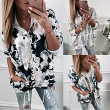 S-XL autumn winter floral print tops hoodies blouse casual leisure women