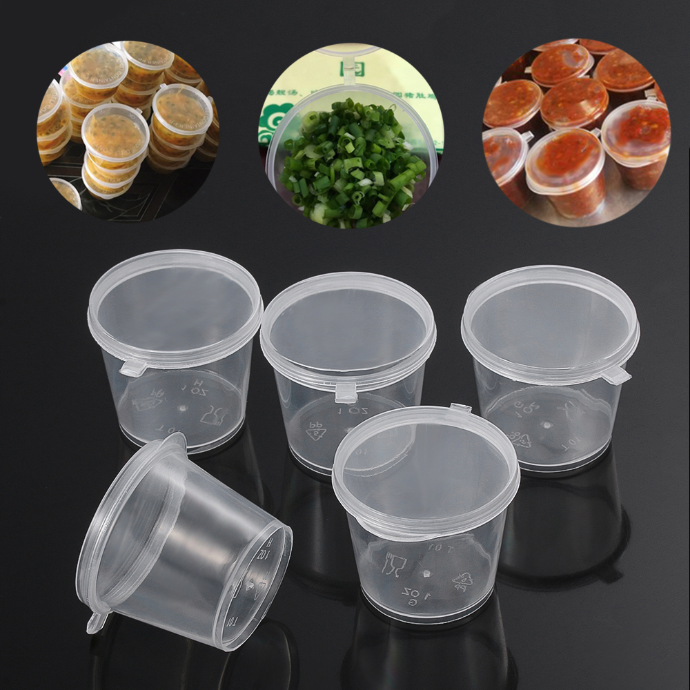 25Pcs <font><b>25ml</b></font>/27ml/45ml Disposable Plastic Takeaway Sauce Cup <font><b>Containers</b></font> Food Box with Hinged Lids Small Pigment Paint Box Palette image