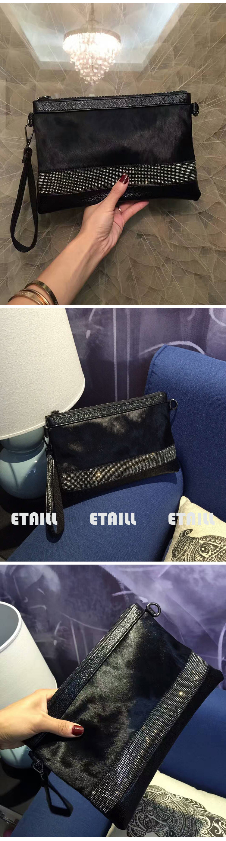 horse hair real leather bag