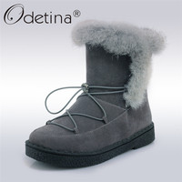 Odetina 2019 New Fashion Women Platform Snow Boots with Rabbit Fur Ankle Boots Flat Winter Warm Shoes For Female Big Size 31 45