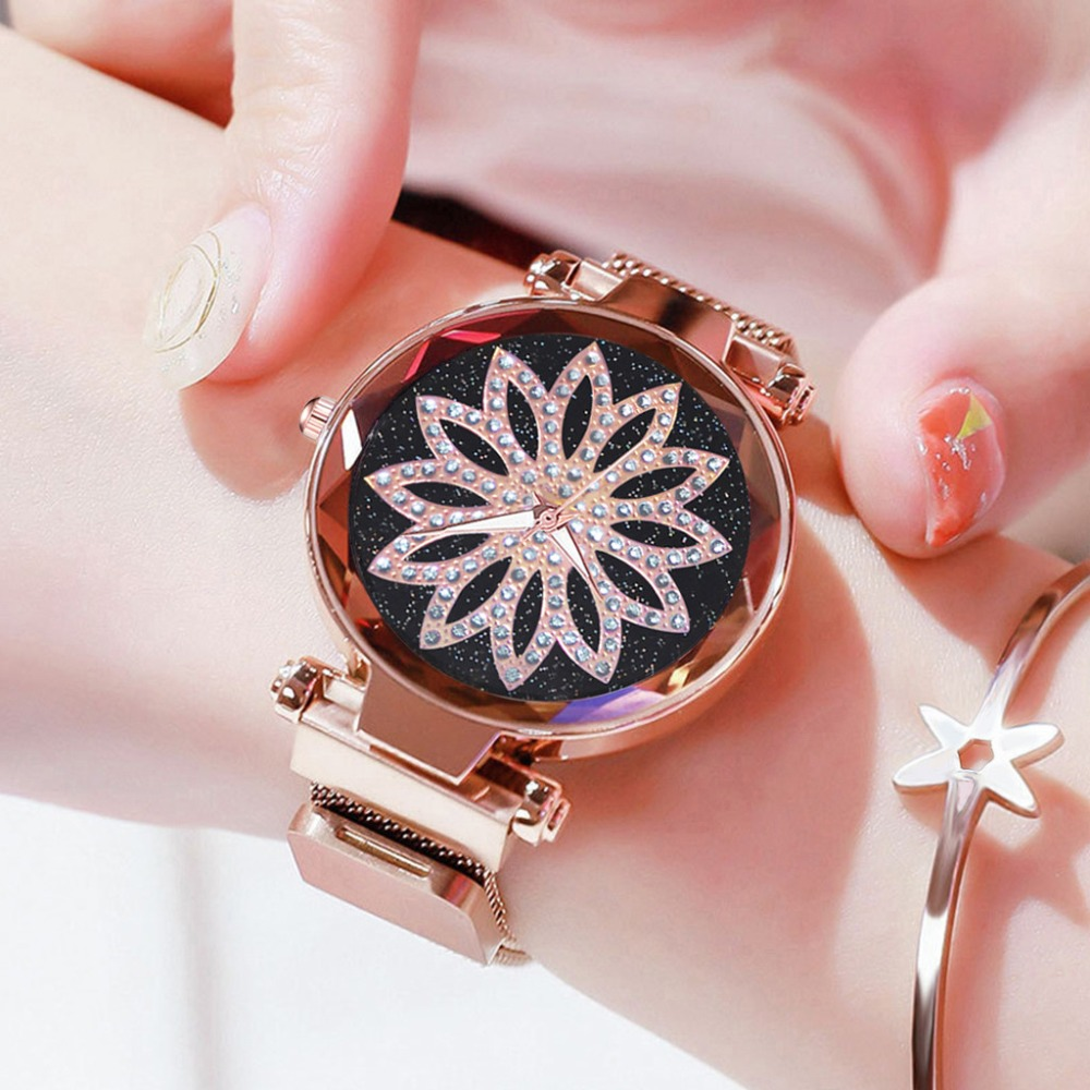 Best Sale Women Watches Starry Sky Dial Ladies Simple Quartz Wristwatch Magnetic Buckle Strap Clock Brand Relogio Feminino 533