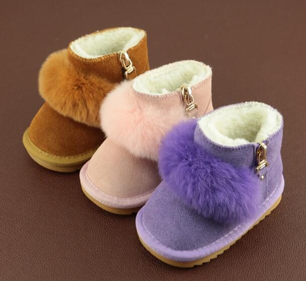 2018 Winter fashion toddler Baby Snow Boots with Cute Fur Genuine Leather princess keep warm baby moccasins for kids girls