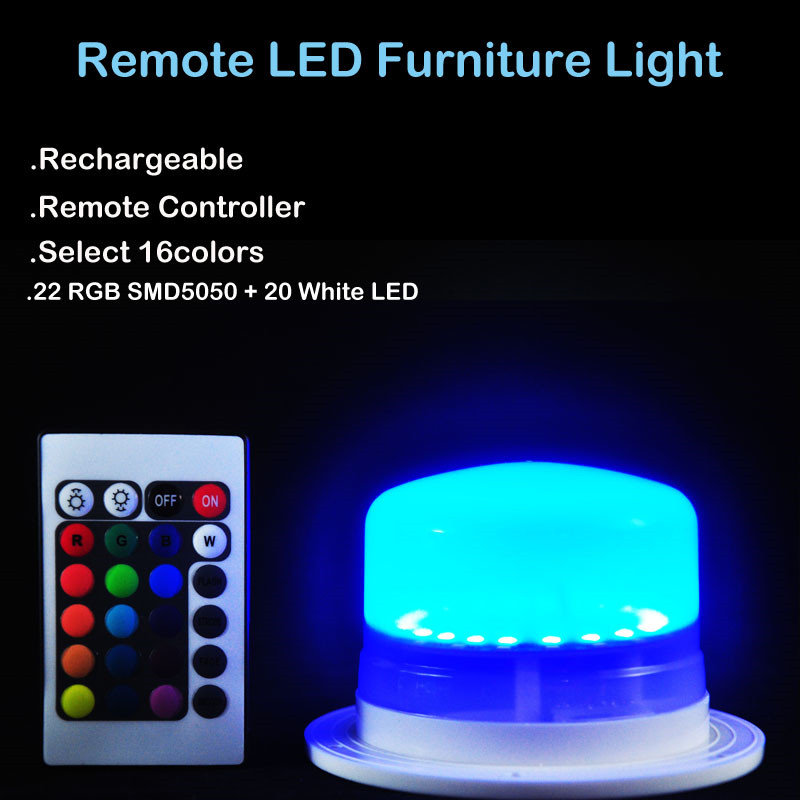 RGBW Rechargeable Lithium Battery Operated Plastic LED Furniture Lighting Under Table Light Base for Hotel&Wedding Party Events