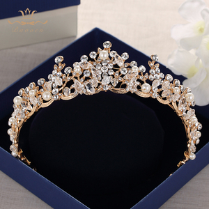 Image 2 - แฟชั่นเจ้าสาวคริสตัล Tiaras Crowns ทอง Headpieces Rhinestone อุปกรณ์เสริมผมงานแต่งงาน Evening เครื่องประดับผม