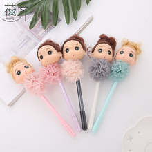 huaqi 4pcs Cute Lovely big eyes Girl Doll lace Gel Pen Signing Pen Writing Tool School