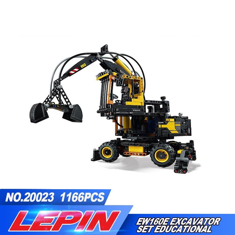 2017 LEPIN 20023 1166Pcs Technic Series Volvo EW Excavator Model Building Blocks Bricks Compatible legoed 1 14 volvo excavator light module jd 106a