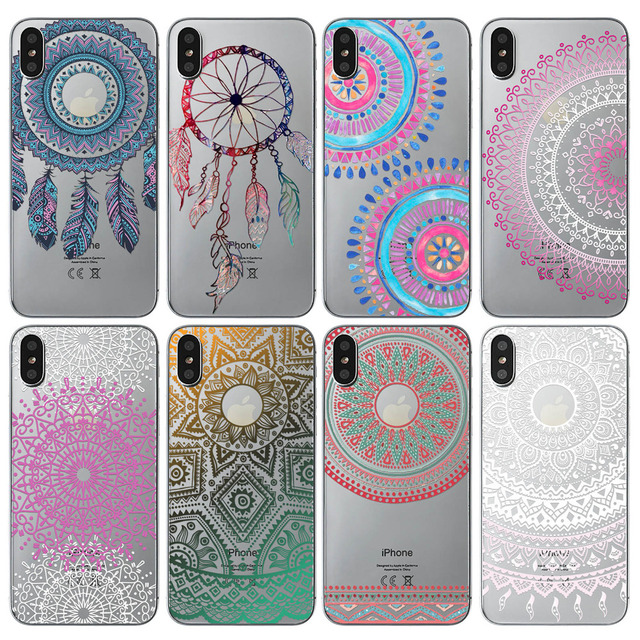 huge discount 62522 f3229 US $1.69 49% OFF|Transparent Soft Phone case For iPhone X Cover New Arrival  Silicon Paisley Flower Mandala Henna Dream Catcher Mobile Phone Bag -in ...
