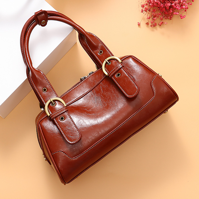 Bag Female Vintage Women Handbags Designer Shoudler Bags For Ladies Boston Genuine Leather Bags Gift Mom Bolsa Feminina Totes