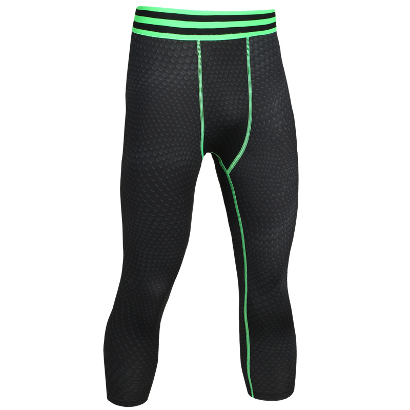 2017 NEW Yoga Tights Men Compression Tights Sports Fitness Legging 3 4  Pants Gym Cropped Trouser Jogging Run Pants For Men d1703b0ef7