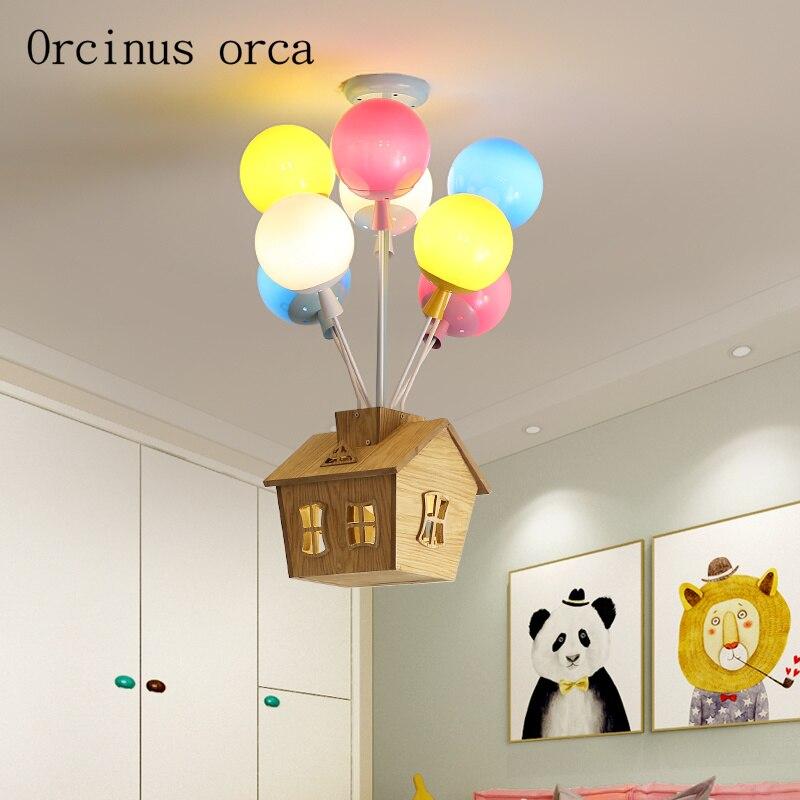 Cartoon creative color hot air balloon pendant lamp Boy Girl Bedroom children room lamp modern  LED house pendant lamp|Pendant Lights| |  - title=