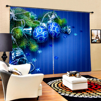 Bule Color Luxury Christmas Decorative 3D Blackout Curtains For Bedding Room Living Room Drapes Cortinas Para