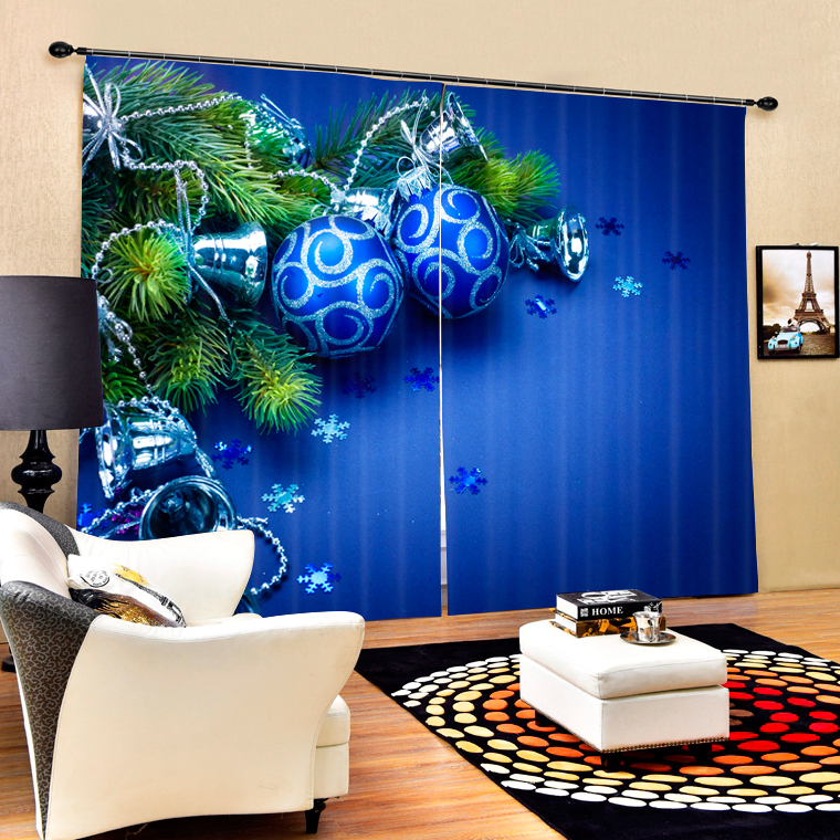 Bule Color Luxury Christmas Decorative 3D Blackout Curtains For Bedding room  Living room Drapes Cortinas para salaBule Color Luxury Christmas Decorative 3D Blackout Curtains For Bedding room  Living room Drapes Cortinas para sala