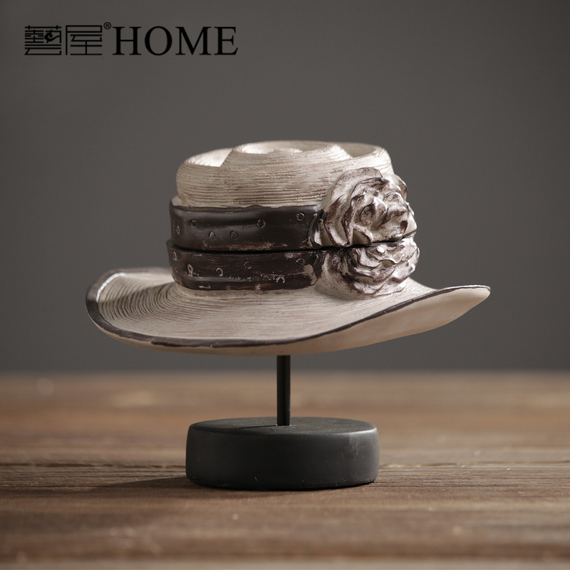 american rustic retro resin ladies hat model furnishing ornament home decor bar cafe clothing store decoration - American Home Decor Stores