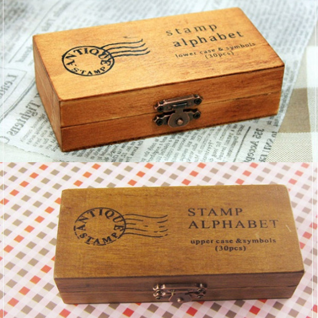Romantic Handwriting Alphabet Letter Wooden Stamp Set Retro Vintage Craft Alphabet Letter Number Rubber Stamp Set Wooden Box