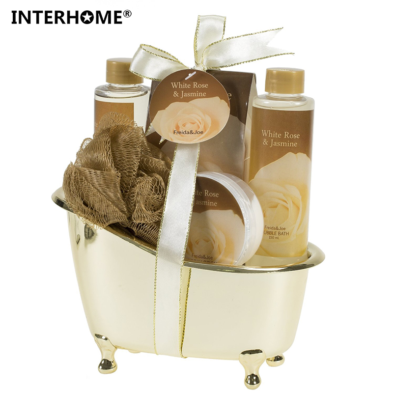 цена на 2017 New White Rose Jasmine Gold Tub Spa Bath Gift Set in Shower Gel Bubble bath Body Lotion bath salt puff ribbon and hangtag