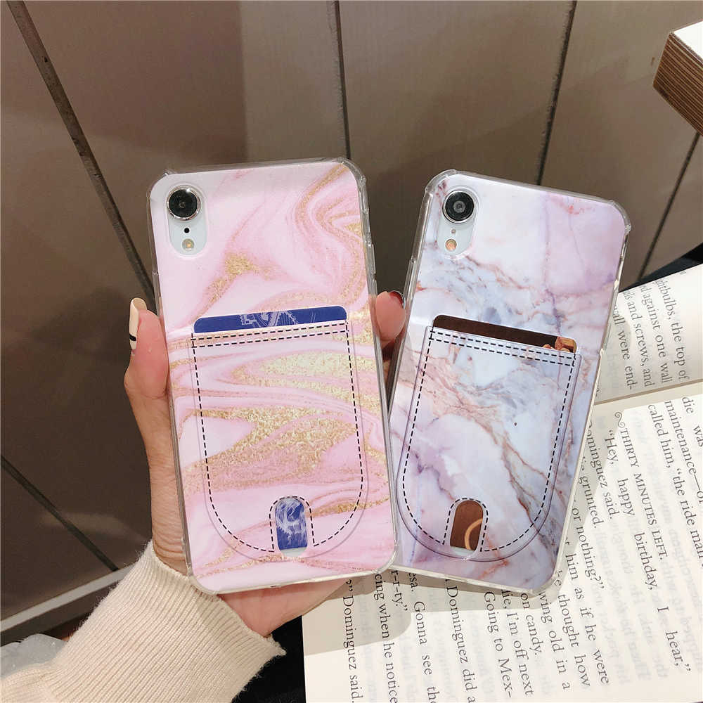 For Iphone 8 8plus X XR XS Max Marble Credit card case Iphone 6  Case for Iphone 7 7Plus Cover Soft TPU Silicone Phone case
