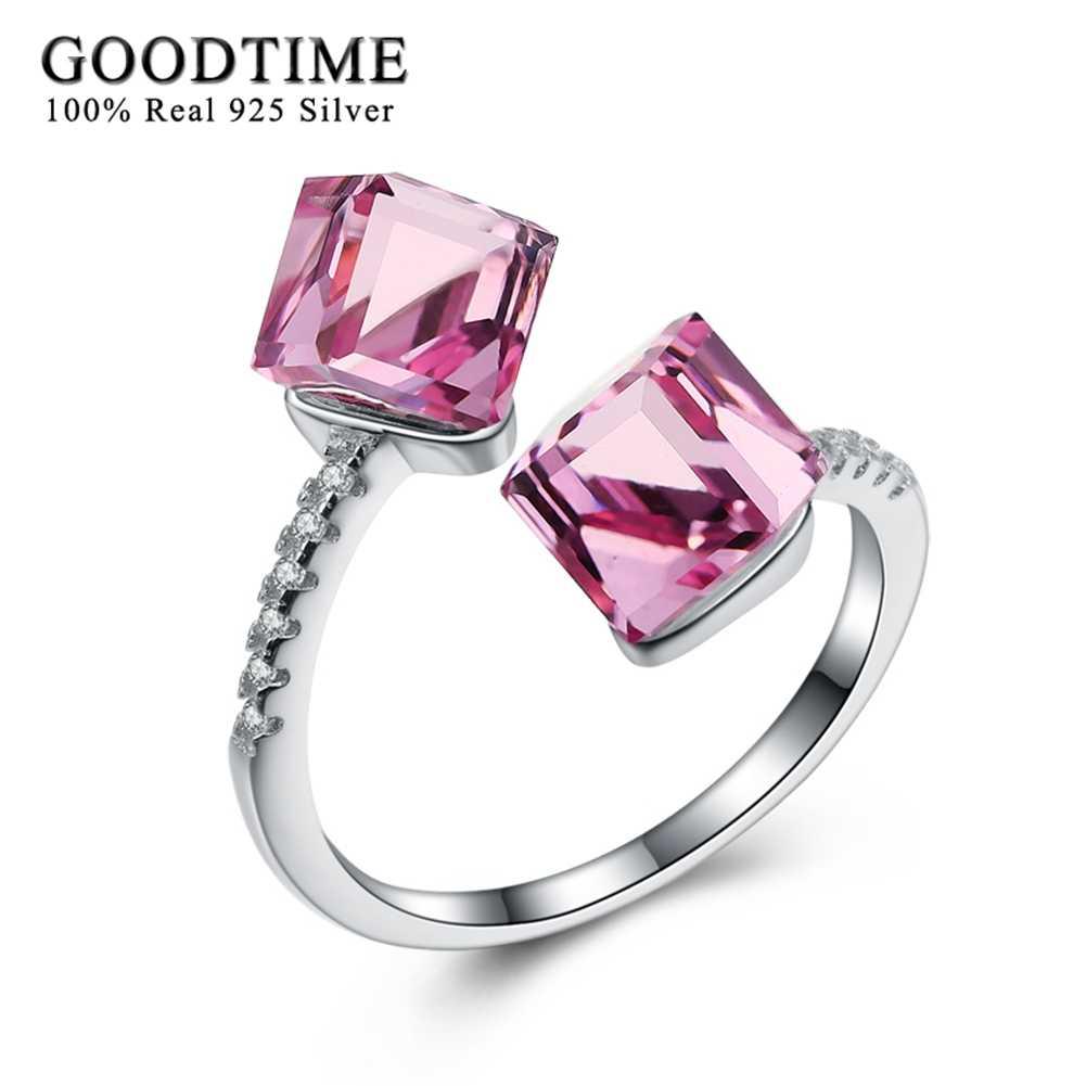 แฟชั่นที่ไม่ซ้ำกัน 925 เงินสเตอร์ลิงแหวนเงินผู้หญิงสีชมพูคริสตัล Cube เปิดแหวนโรแมนติกแหวนเงินแท้ 925 เครื่องประดับ