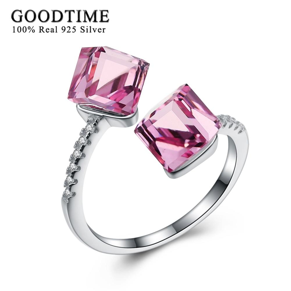 Fashion New Unique 925 ստերլինգ արծաթե օղակներ կանանց համար Pink Crystal Cube Բացման օղակները Ռոմանտիկ մատների մատանի Մաքուր արծաթյա զարդեր