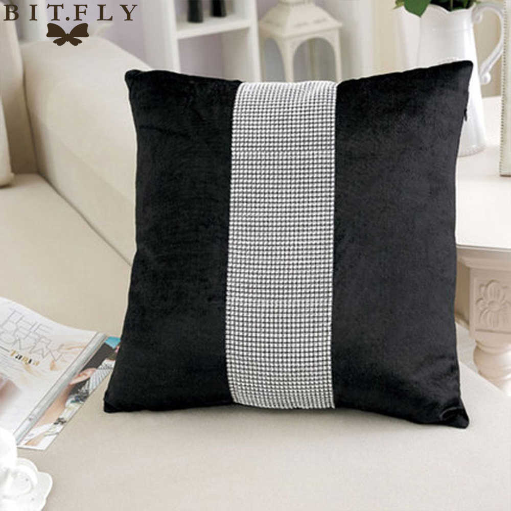 BIT.FLY 1pc 45*45cm Flannel Cushion Cover For Sofa Home Decoration Square Diamond Pillow Case  Flannel Home Textile Supplies