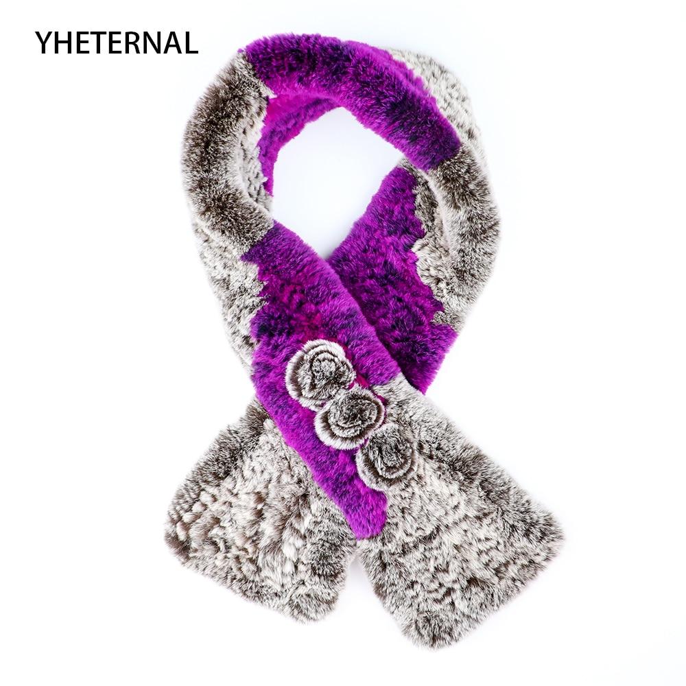 Yhéternel écharpe femmes 2018 réel tricoté 100% réel Rex lapin fourrure écharpe trois Floral hiver plus chaud col de fourrure fleur écharpes