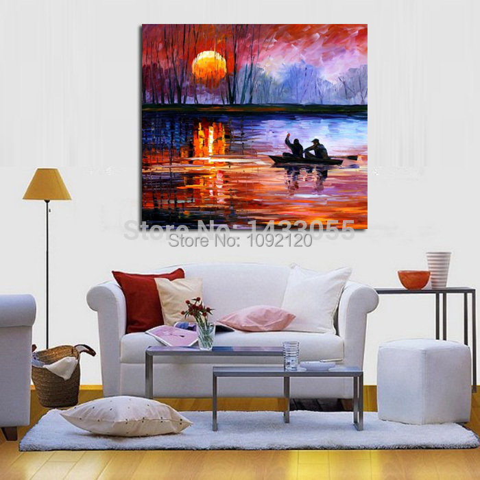 100 Handpainted Abstract Fisherman font b Knife b font Oil Painting On Canvas Thick Oil Painting