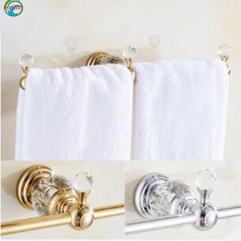 Wall mounted Double Towel Bar,Towel Holder, Towel rack Solid Brass & Crystal Vintage Made Golden & chrome  Finish free shipping crystal and jade wall mounted toothbrush holder double ceramic cup brass holder