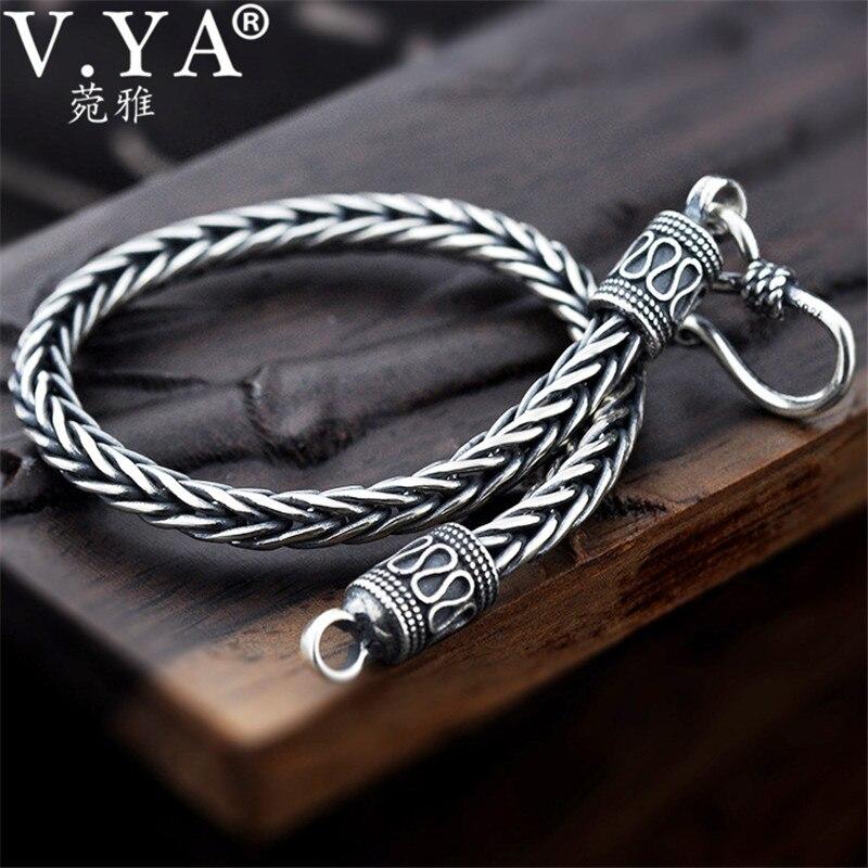 V. YA 4 MM 5 MM Thai argent hommes Bracelets 100% 925 Sterling argent serpent chaîne Bracelet pour hommes Vintage Style bijoux fins