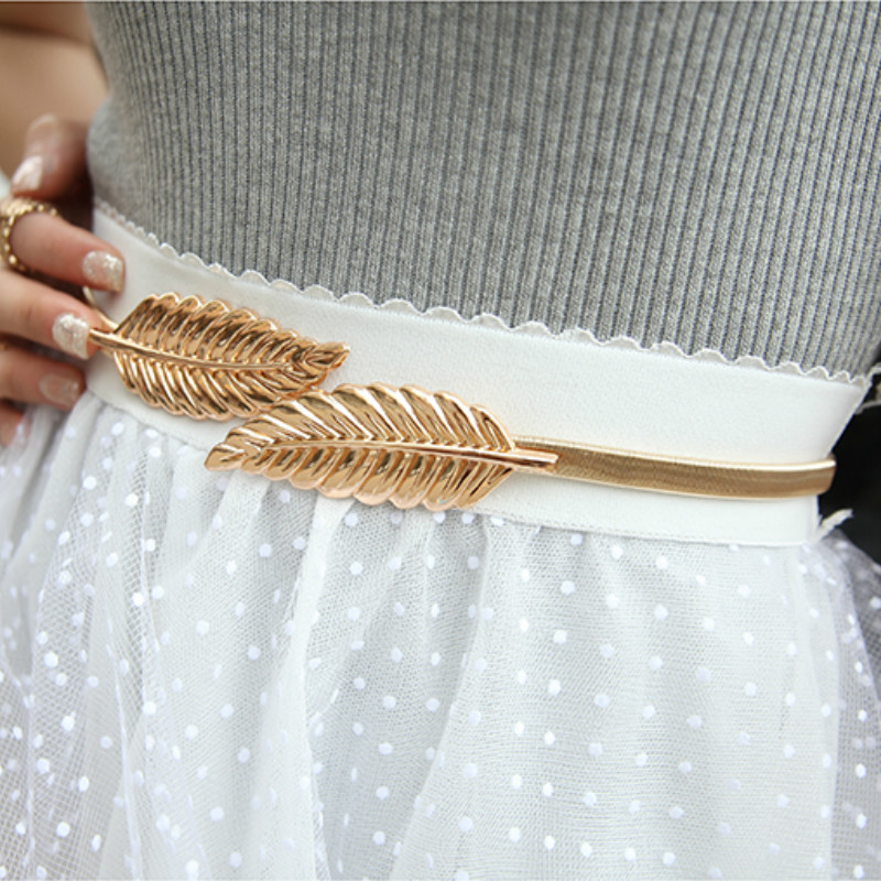 Women Elastic Metal Waist Belts Silver Gold Chain Belts Female Cute Leaf  Buckle Cummerbunds For Ladies Dresses Strap Waistband