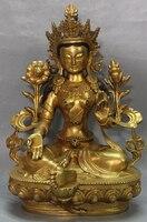 006997 12 Marked Chinese Purple Bronze 24K Gold Seat Lotus Green Tara Buddha Statue