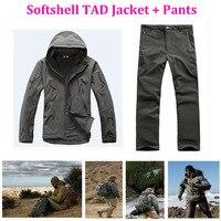 전술 사냥 정장 TAD Softshell 재킷 남성 방수 방풍 야외 스포츠 캠핑 위장 세트 하이킹 재킷 + 바지