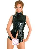 Sexy PVC Shiny 2 Way Zipper Open Croth Bodysuit U Crotch Faux Leather Body Suit Turtleneck Night Club Pole Dance Wear FX52