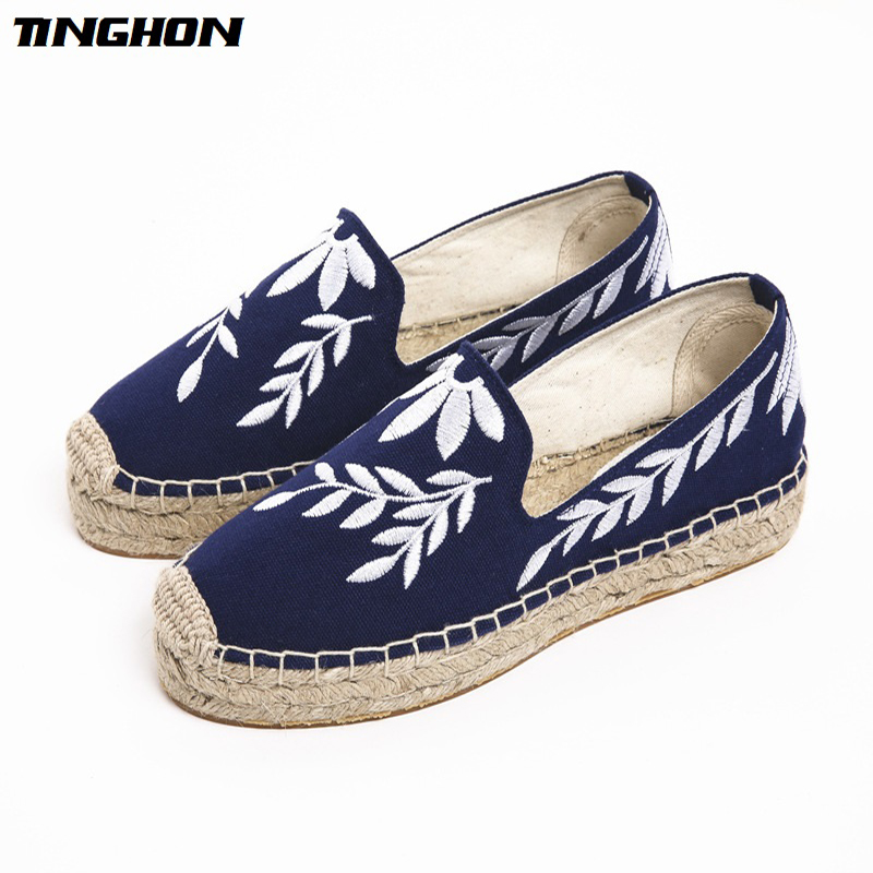 TINGHON Fashion Women Ladies Espadrille Shoes Canvas Embroidered leaves Thick bottom Hemps Fisherman Flats Shoes цены онлайн