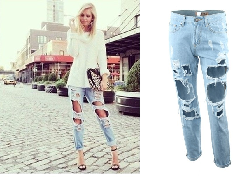 Women's Vintage boyfriend slouchy Big Ripped Destroyed Washed Out ...