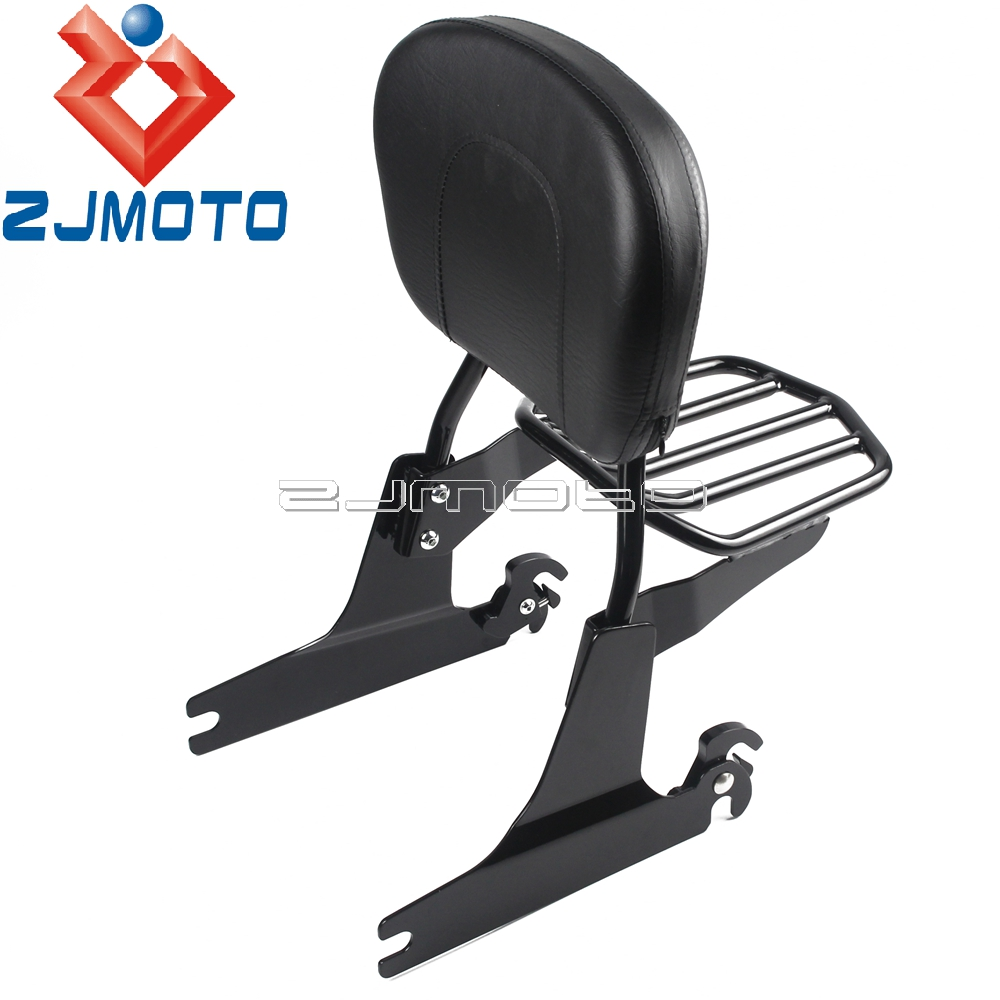 Black Motorcycle Sissy Bar Backrest Luggage Rack For Harley Softail Fat Boy Springer Night Train 2000-2005Black Motorcycle Sissy Bar Backrest Luggage Rack For Harley Softail Fat Boy Springer Night Train 2000-2005