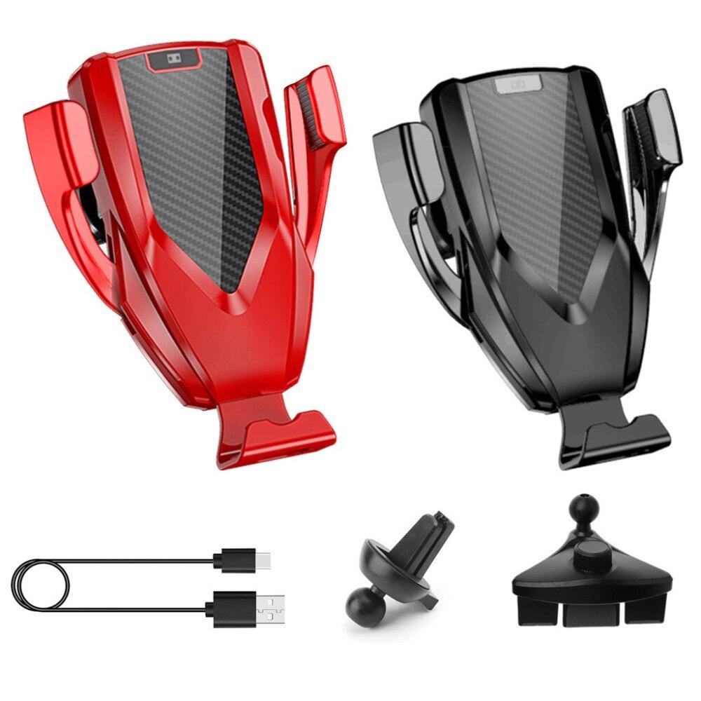 Qi Carregador Sem Fio Rápida Air Vent Carro HIV + CD de Montagem de Fixação Automática Estande Suporte Para Carro para iPhone XR XS max X 8 10W Rápido C MAR