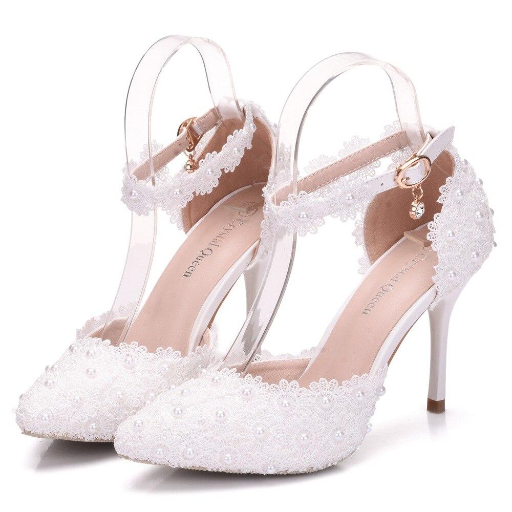 Large Size White Lace Flower Wedding Shoes Bridal Shoes Wedding